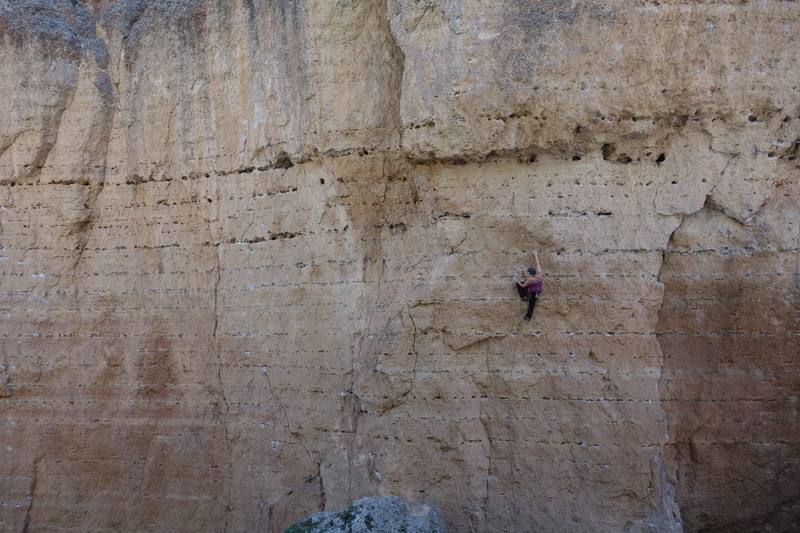 Rock Climbing Photo: Rebecca Lewis on her route SassyKay Superstar. Pho...