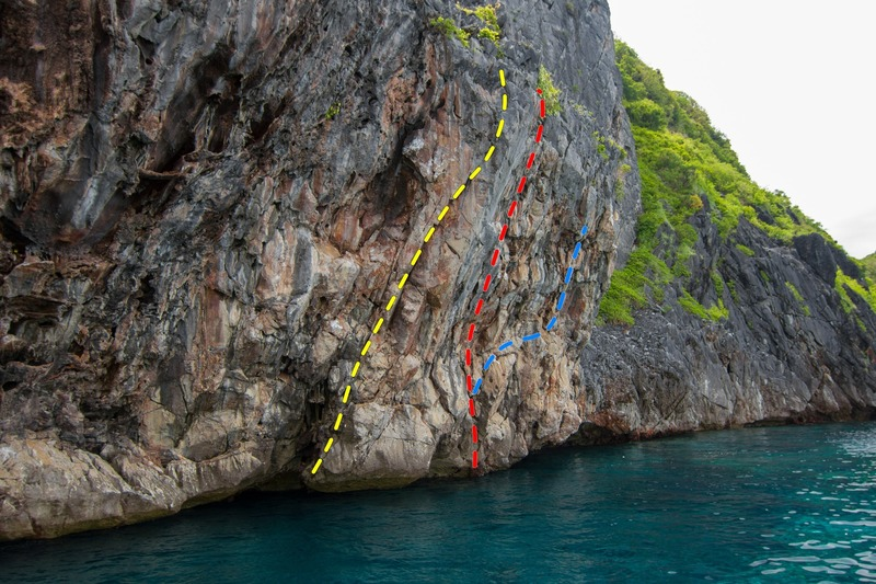 Rock Climbing Photo: Wall facing east with Captain Jerry's Arete (yello...