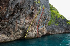 Wall facing east with Captain Jerry's Arete (yellow), Captain Jerry (red), and unnamed climb (blue).