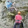 Steve climbing up Super Dad's (5.10b)