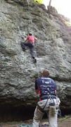 Rock Climbing Photo: Tom top roping this Unknown Name route just left o...