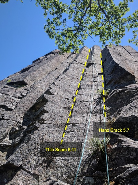 Hanz Crack 5.7 on the right and Thin Seam 5.11 on the left, June 2017