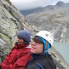 Stella and Lorenzo on the Slab route near the Albigna Hutte