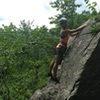 Climber maybe more than halfway up Tipping Point, photo from Crack Addict
