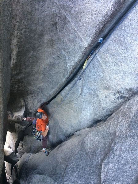 Rock Climbing Photo: Self belaying the pitch from the alcove to El Cap ...