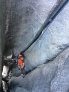 Self belaying the pitch from the alcove to El Cap Spire on Freerider
