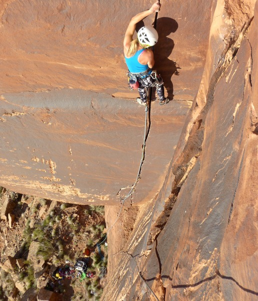 "Jessica Kilroy leading pitch 1 of ""Bruce Lee as FUCK"" 5.12- on the Bioturbation Wall in Indian Creek, Utah during the first ascent with Pat Kingsbury. Photo: Pat Kingsbury"