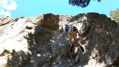 Rock Climbing Photo: Lars hangdogging on toprope.