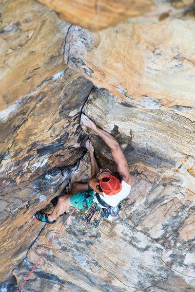 Nevko pulling though the beautiful upper dihedral of Grand Space (11b) at Fern Buttress. Photo by Jeff Dunbar.