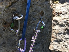 Rock Climbing Photo: Pair of bolts for these and neighboring climbs--le...