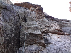 Rock Climbing Photo: Looking up from ledge above crux toward the start ...