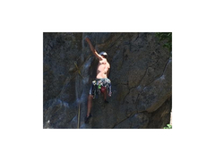 Rock Climbing Photo: Me leading the lower section of the route.