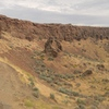 Lauren getting ready to rappel down Don Coyote, on The Feathers in the Frenchmen Coulee