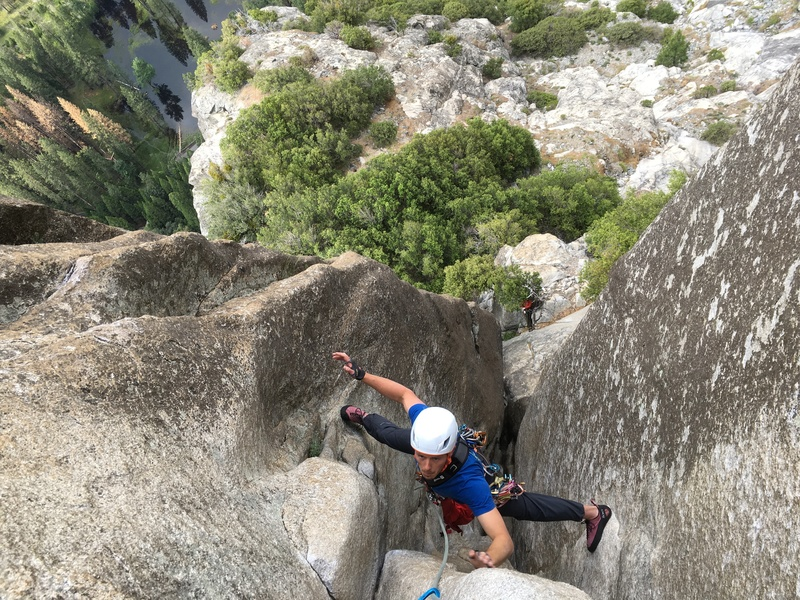 Rock Climbing Photo: The tricky last couple moves to P1