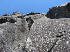 Rock Climbing Photo: Three options for Pitch 3: fingercrack (left), off...