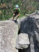 Rock Climbing Photo: Rappelling from the chockstone at the top of the r...