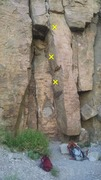 Rock Climbing Photo: Great double crack sequence right off the ground. ...
