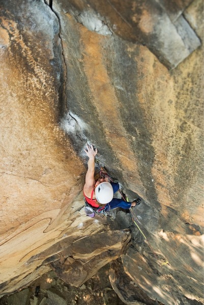 Rock Climbing Photo: Katie Hughes approaching the crux in the thin fing...