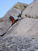 Rock Climbing Photo: Myles leading P10 to gain the ridge and the Beckey...