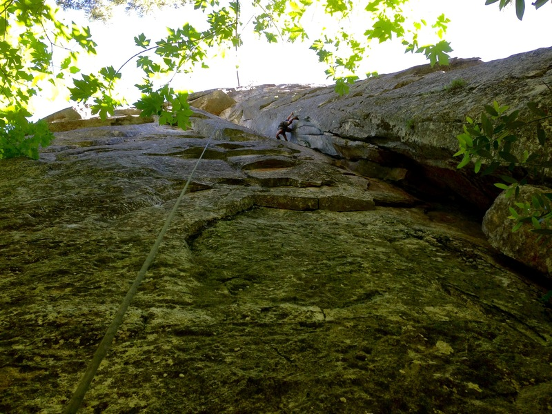 Rock Climbing Photo: Jared Malapit stemming below the crux on the &quot...