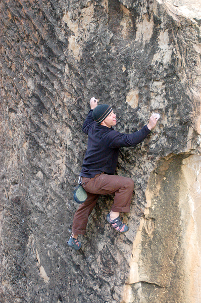 The Ripple Boulder is like climbing up a fossilized sand beach. (Climber Jonathan Prather)