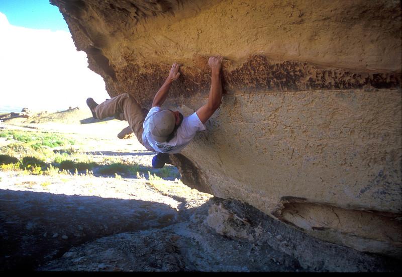 Rock Climbing Photo: Kopavi Rubens working the roof problem.