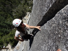 Rock Climbing Photo: Coco on her first trad lead.