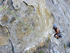 Rock Climbing Photo: The wild 5.8 face moves that finish Pitch 3.