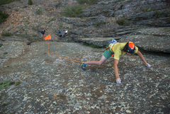 Rock Climbing Photo: Hayden stemming the slopey rail near the top