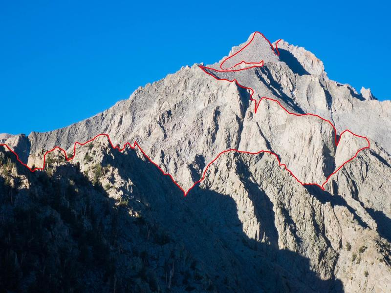 About half of the route, not seen is the  summit hidden behind the West Horn and the long ridge traverse above the sand cone start.