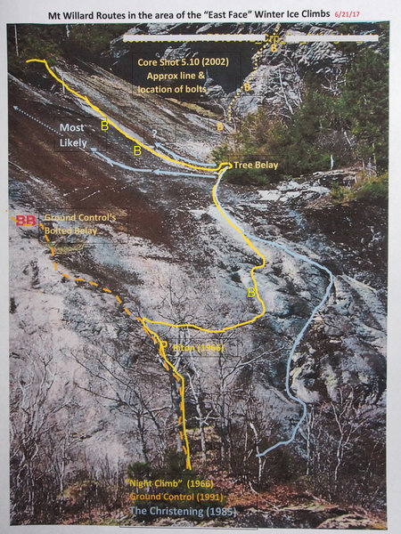 """Top Part of """"A Night Climb"""" (yellow) with the alternate pitch of """"The Christening"""" shown in blue."""