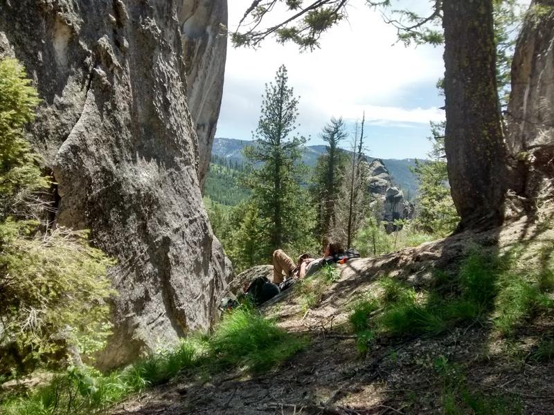 Rock Climbing Photo: Contemplating Patina Pin. Or food. Or a nap.
