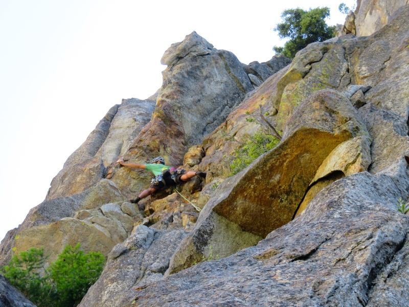 James making the crux (5.9ish) move on Pitch 3.