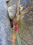 Rock Climbing Photo: Rap anchor at top of Pitch 3. This is the second (...