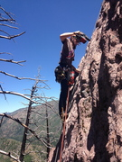 Rock Climbing Photo: Drilling on lead in approach shoes.