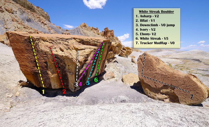 Rock Climbing Photo: The White Streak Boulder and Trucker Mud Flap