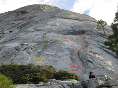 Rock Climbing Photo: Safer alternate start for Snake Dike. Photo borrow...