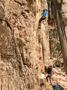 Rock Climbing Photo: Just past the crux. Photo by Dr. Caroline Schoo, E...