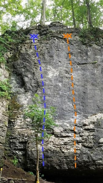 Scrub-a-Dub-Dub (Blue)- 5.9-<br> Kept to Memory (Orange)- 5.12a