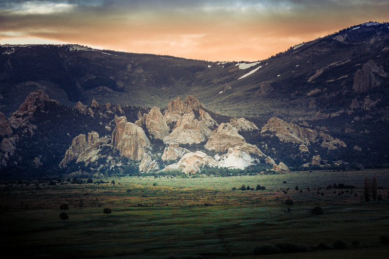 Section of Castle Rocks at dusk.
