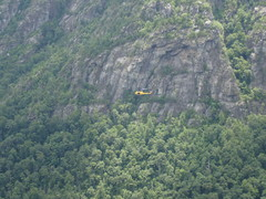 Chopper flying down the gorge beneath us, taken from the Prow.