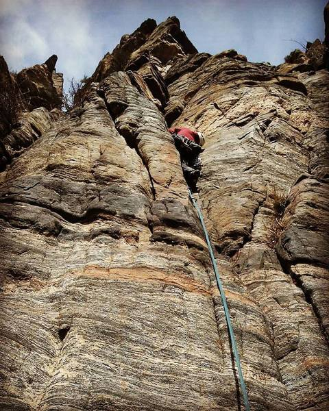Rock Climbing Photo: Heading up the first pitch of Jack Attack.