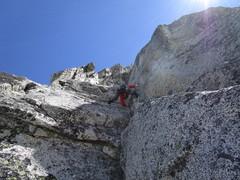 Rock Climbing Photo: Matt heading up P3. We took the left variation up ...