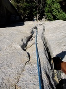 Rock Climbing Photo: Looking down while climbing the hand/fist crack. Y...