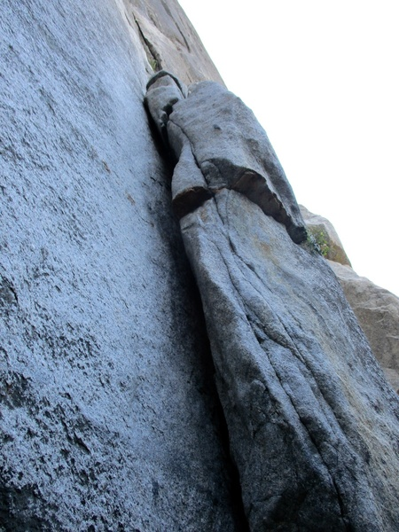 The short first pitch of Sacherer Cracker, to get to the splitter crack above. Rated 5.7.....yeah.....