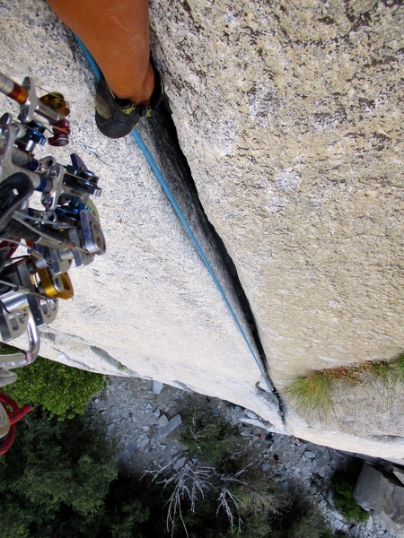 Looking down while climbing the handcrack section.