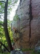 Rock Climbing Photo: Jake starting the crux
