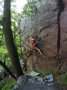 Rock Climbing Photo: Awesome route, low on the (seeping after a rain) s...