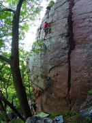 Rock Climbing Photo: Higher up with the gear placements visible