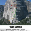 Route Overlay for a 3-Day Ascent of the Nose (times correspond to our progress up the wall...)